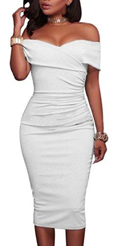 Jaycargogo Womens Sexy Froncé Large Robe Midi Club Fête Bodycon Épaule Blanche