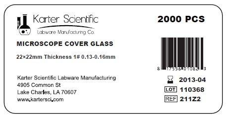 200pk 22x22mm Case of 2000 #1 Thick Karter Scientific 211Z2 Standard Microscope Cover Slip