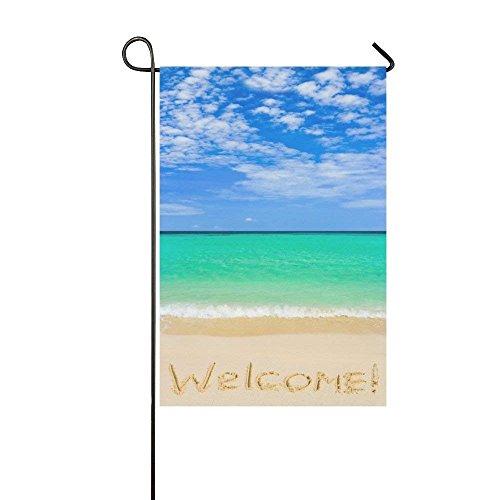 HUVATT Beach Seashell Starfish Polyester Garden Flag Outdoor Banner 28 x 40 inch, Summer Ocean Wave Decorative Large House Flags for Wedding Party Yard Home Decor -
