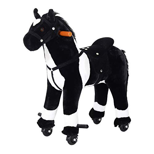 Qaba Kids Plush Ride On Toy Walking Horse with Wheels and Realistic Sounds - Black