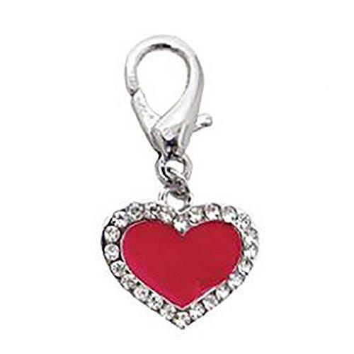 FouFou Dog Enamel Heart D-Ring Dangler, Charm for Dog and Cat Collars (Red)
