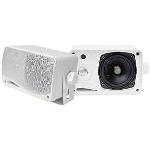 "PYLE PLMR24 3.5"" 3-Way Weather Proof Mini Box Speaker System (White)"