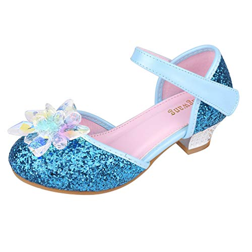 Wangwang Mary Jane Shoes for Girls Cystal Flower Sparkly Princess Toddler Little Girls Sandals (12 M US Little Kid, Blue -