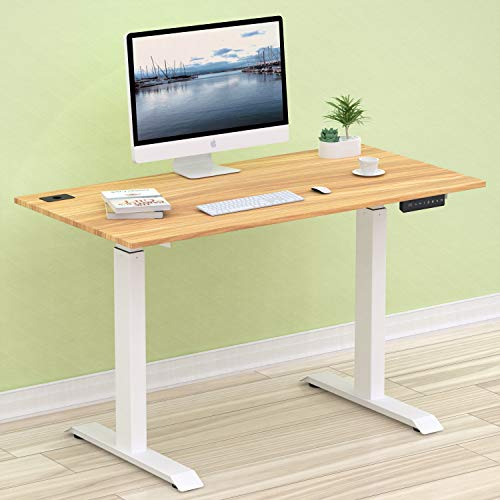 SHW Electric Height Adjustable Computer Desk, 48 x 24 Inches, Light Cherry