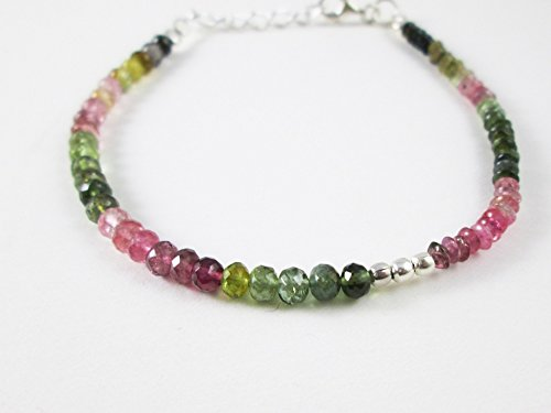 Natural Watermelon Tourmaline Beads Bracelets with Sterling Silver Findings 6.50 inches Handmade Gemstone Beaded Jewelry