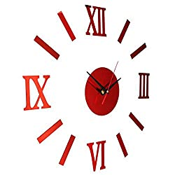 Acrylic Frameless DIY Wall Clock - Red Surface Mirror Modern Art Roman Numerals Digits Stickers for Living Room Bedroom Home Decorations
