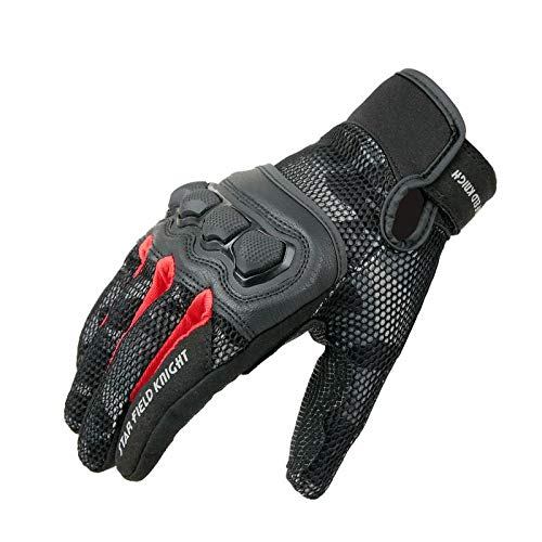 XuBa 1pair Motorcycle Gloves Knight Daily Riding Protection Touch Screen Gloves Summer Breathable Mesh Glove for Men Women Full Finger,Camouflage Red XL
