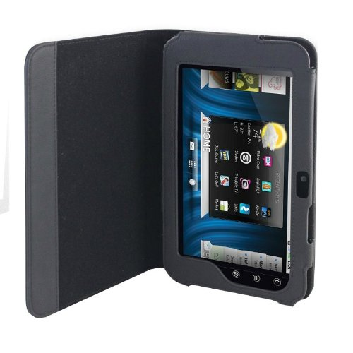 Navitech Genuine Black Napa Leather Flip Open 7 Inch Book Style Carry Case / Cover for the Cambridge Sciences G7 8GB 7