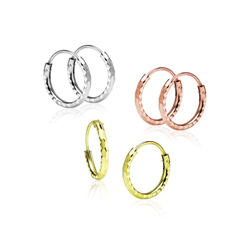 Big Apple Hoops - Genuine 925 Sterling Silver Tiny 10mm Handmade Diamond Cut Endless Hoop Earrings Delicate and Unique Design | Set of 1-3 Pairs in 3 Polish Finishes (Silver, Yellow Gold, Rose Gold) (Earrings Set Color Tri)