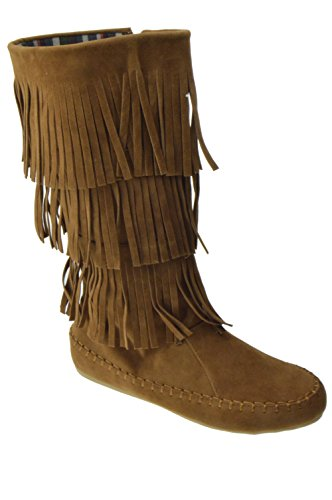 TG 13 Womens 3 layer Fringe Moccasin Mid-Calf Boots Tan - Boot Indian Fringe