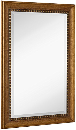 NEW Large Transitional Rectangle Wall Mirror | Luxury Designer Accented Frame | Solid Beveled Glass | Made In USA | Vanity, Bedroom, or Bathroom | Hangs Horizontal or (Grande Baroque Gold Accent)
