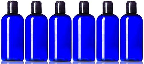 tic Bottles Cobalt Blue 4 Oz PET Boston Round Empty Refillable BPA Free with Hand Press Smooth Black Disc Flip Caps Tops Lids (Pet Boston Round Plastic Bottles)