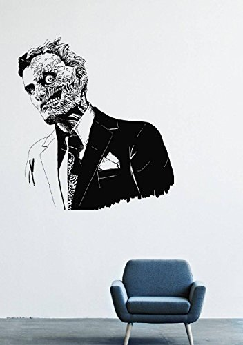 [Wall Decals Decor Viny Batman Costume Mask Two-faced Costume Tie Man Super-Villain GMO0552] (Easy Male Villain Costumes)