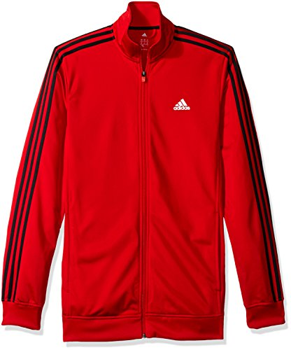 adidas Men's Athletics Essential Track Jacket (Extended Sizes), Scarlet/White, X-Large/Tall