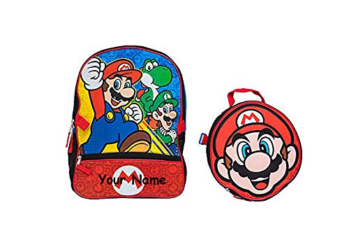 Nintendo Personalized Super Mario Luigi Yoshi Video Game Characters Back to School Backpack Book Bag Detachable Lunchbox - 2 Piece Set