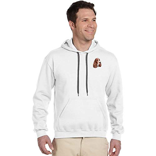 Cherrybrook Breed Embroidered Mens Gildan Pullover Hoodie - X-Large - White - English Springer Spaniel