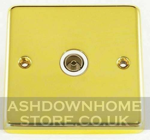 G&H CB35W Standard Plate Polished Brass 1 Gang TV Coax Socket Point G&H Brassware