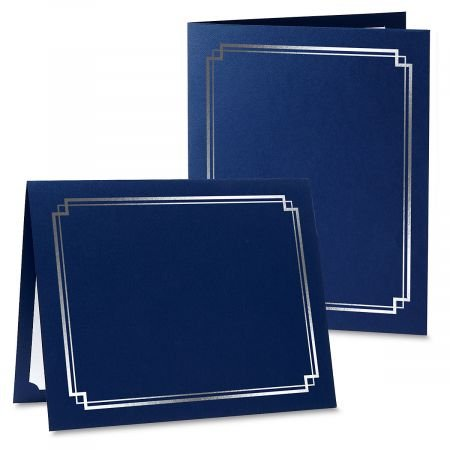 Classic Blue Certificate Folder with Silver Border - Set of 25, 9-1/2'' x 12'' Folded with Diecut Corners on 80 lb. Linen Cover Stock by Current