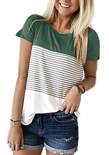 (ANDUUNI Womens Summer Short Sleeve Striped Tunic Tops Junior Casual Color Block Tee-Shirt (Green, Small))