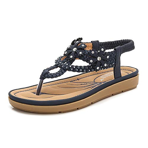 Wollanlily Women's Flat Sandals T-Strap Summer Beach Bohemian Rhinestone Flip Flops Thong Shoes (US 8, Navy)