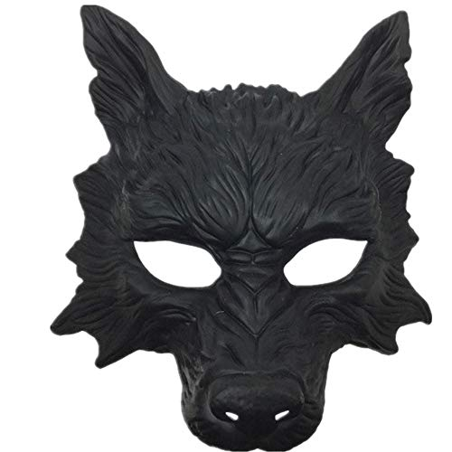 Storm Buy] Wolf Mask Blank Black Scary Horror Devil Wolf Animal Masquerade Halloween Costume Cosplay Party mask (Black)