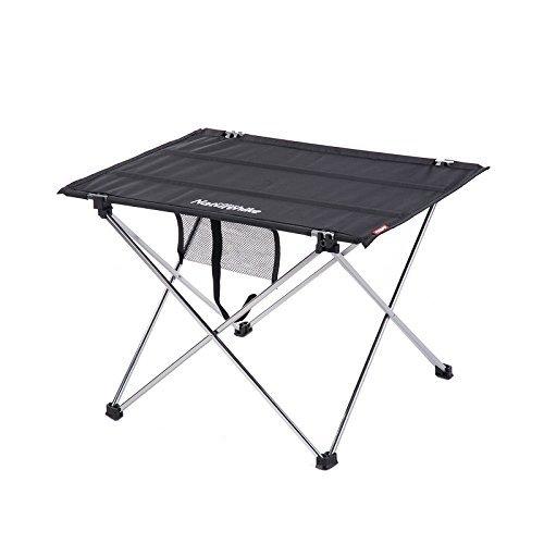 Naturehike 屋外Foldableテーブルポータブルキャンプアルミ合金テーブルピクニックテーブル (Black, Small) B073WNLHRM