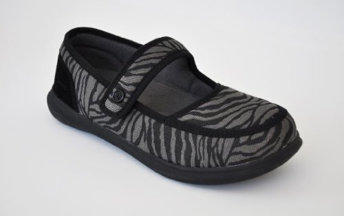 Spenco Slipper - Womens Mary Jane - Orthotic Support Black Zebra - 7