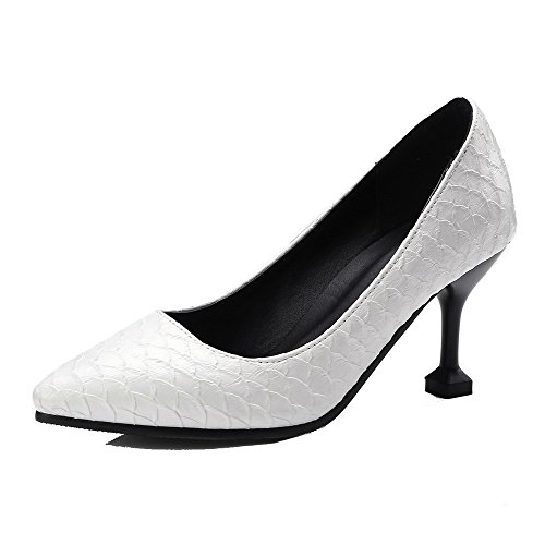 Odomolor AmagooTer Women's PU High-Heels Pointed-Toe Solid Pull-on Pumps-Shoes White gNGsOJn