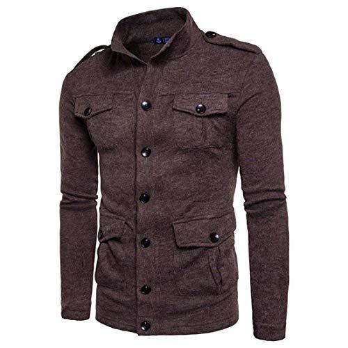 Otoño Invierno Breasted Single Jacket con Bolsillos Punto Abrigos Knit Coffee De Modernas E Personalidad Cardigans Hombres Abrigo Casual rUAxr8