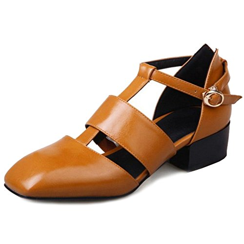 SJJH Sandals with Large Size and Comfortable Women Roman Sandals with Low Chunky Heel and Ankle Strap Women Sandal Shoes Yellow fmj2I9