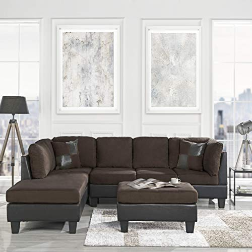 - 3 Piece Modern Microfiber Faux Leather Sectional Sofa with Ottoman, Color Hazelnut, Beige, Chocolate and Grey (Chocolate)