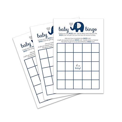 (Navy Elephant Baby Shower Bingo Game - Pack of)