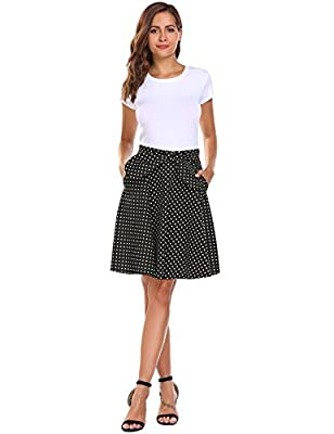 Zeagoo Women's Flared Pleated Mini Skater Skirt A-Line Polka Dots Short Skirt