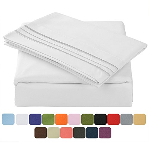 TasteLife 105 GSM Deep Pocket Bed Sheet Set Brushed Hypoallergenic Microfiber 1800 Bedding Sheets Wrinkle, Fade, Stain Resistant - 4 Piece(White,California King) (Bed Set Cheap)