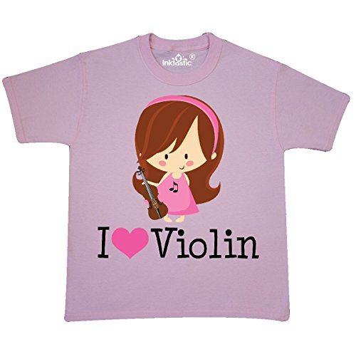 Country Kids Light T-shirt (Inktastic - Violin Girl Youth T-Shirt Youth Small (6-8) Light Pink)