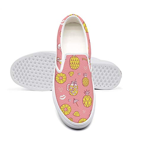 Women Girls Pineapple Vocation Drink Beach Pink Background Casual Sneaker Retro Canvas Traveling Rubber Sole Walking Shoes