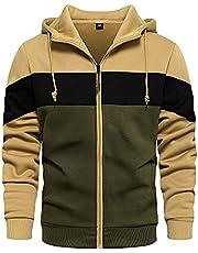 LBL Mens Slim Fit Long Sleeve Zip-up Fleece Hoodie Color Block Sweatshirt with Kanga Pocket