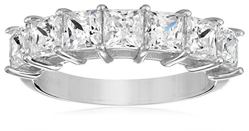 Platinum Plated Sterling Swarovski Zirconia Princess Cut