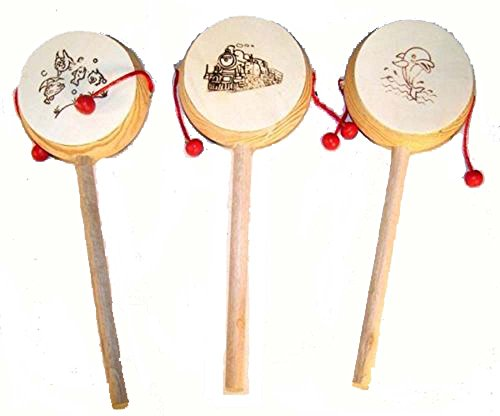 12 Pieces Bulk Lot of Traditional Sound Hand Crafted Chinese Wood Toy Drums - Noise Maker
