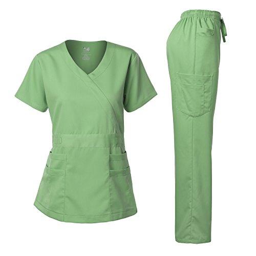 Junior Style-Tab Waist Wrap Top & Unisex Multi-Pocket Pants Apple GREENXL (Medical Scrubs Junior)