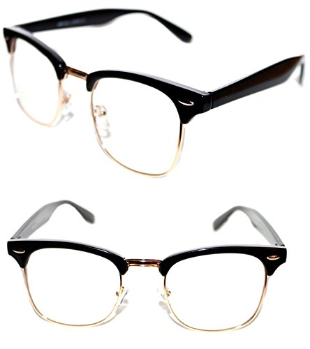 MEN'S WOMEN'S WAYFARER SOHO CLUB MASTER HALF SHELL CLEAR LENS EYE GLASSES, RETRO 60'S 70'S 80'S BLACK SILVER MEDIUM - Soho Frames Eyeglass