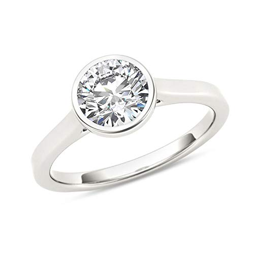 bbamjewelry Certified 1 CT Bezel Set Round Real Moissanite Solitaire Engagement Ring In 14K White Gold Plated
