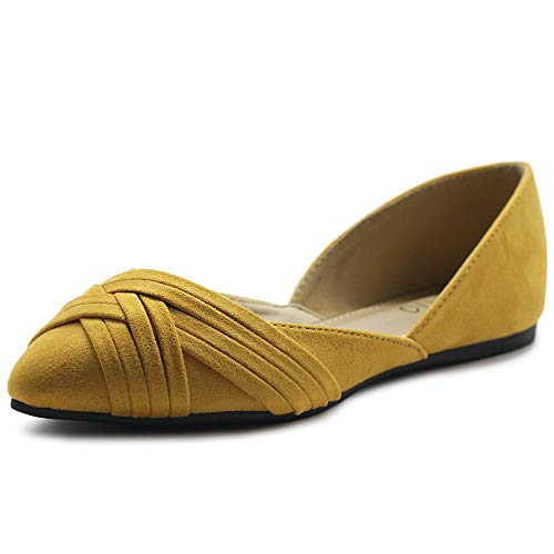 Ollio Women's Shoes Faux Suede Light Comfort D'Orsay Pointed Toe Braided Ballet Flats F85 (7.5 B(M) US, Mustard)