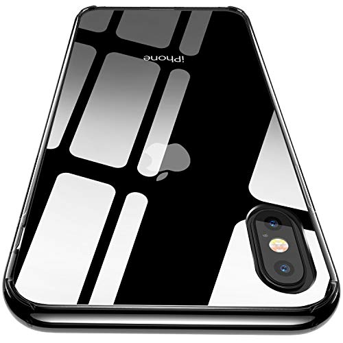iPhone Xs Max Case, CASEKOO Clear Hard Back Soft TPU Bumper Drop Protection Anti-Scratch Transparent Cover Case Compatible with iPhone Xs Max 6.5 inch 2018 [Frost Series]-Black Crystal
