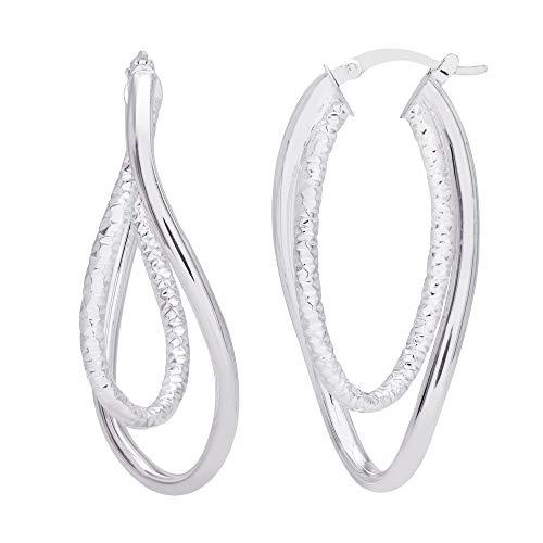 Sterling Silver Double Twisted Oval Hoop Earrings ()