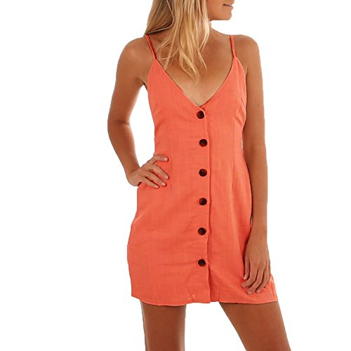 Moxeay Women Tie Up Back Button Front Spaghetti Strap V Neck Mini Dress(XL, Pink)