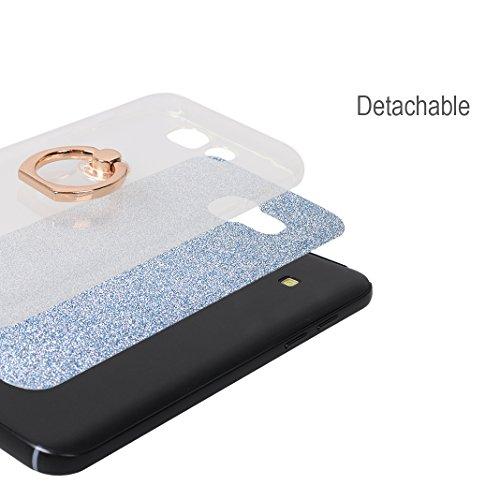 Galaxy A5 2017 Funda con Anillo, Galaxy A520 Carcasa, Moon mood® Suave TPU + Papel Brillo Hybrid 2 en 1 con 360 Rotación Anillo Soporte Función Bling Glitter Sparkle Silicona Trasero Caso Cubierta Pro Azul