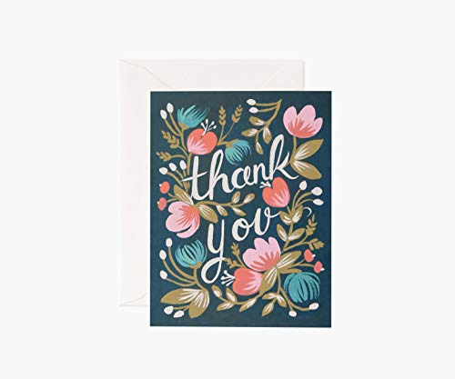 Thank You Midnight Garden Notecards by Rifle Paper Co. -- Set of 8 Cards and Envelopes