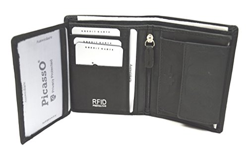 Picasso RFID / NFC Schutz Blocker Herren Geldbörse Portemonnaie Brieftasche aus Echtleder mit Geschenkbox