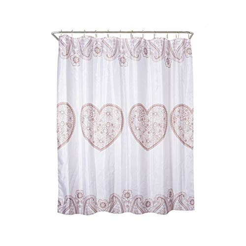 """Good Sun Water Proof Polyester Shower Curtain with Reinforced Buttonholes - 72 """" x 72"""", Printed Design. (Heart Shape)"""